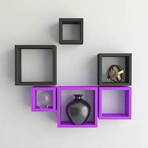 Desi Karigar Wall Mount Shelves Square Shape Set of 6 Wall Shelves - Purple & Black