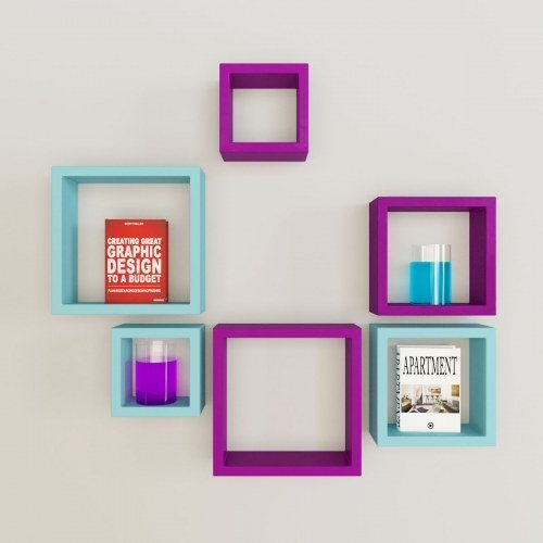 Desi Karigar Wall Mount Shelves Square Shape Set of 6 Wall Shelves - Purple & Sky Blue