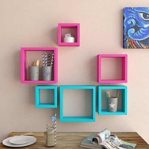 Desi Karigar Wall Mount Shelves Square Shape Set of 6 Wall Shelves - Pink & Sky Blue