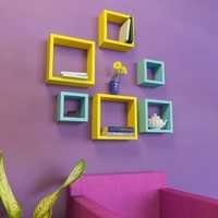 Desi Karigar Wall Mount Shelves Square Shape Set of 6 Wall Shelves - Yellow & Sky Blue