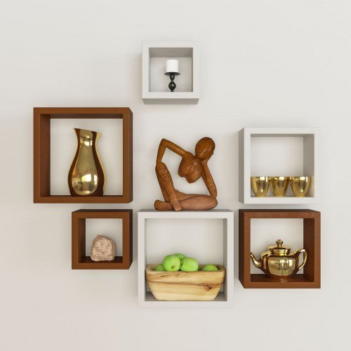Desi Karigar Wall Mount Shelves Square Shape Set of 6 Wall Shelves - Brown & White