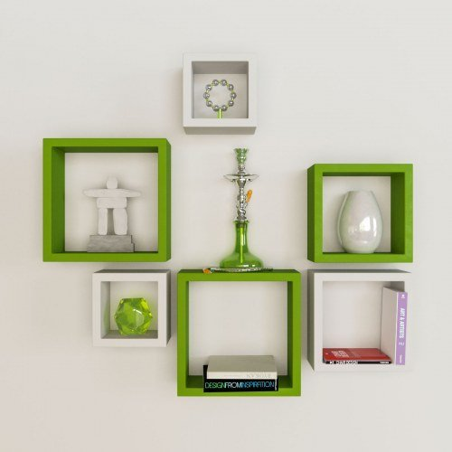 Desi Karigar Wall Mount Shelves Square Shape Set of 6 Wall Shelves - Green & White