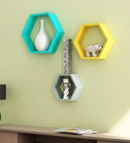 Desi Karigar Wall Mount Shelves Hexagon Shape Set of 3 (Yellow, Sky Blue & White)