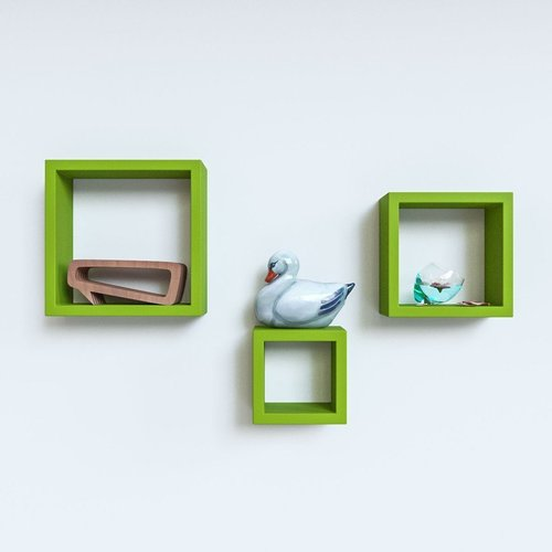 Desi Karigar Wall Mount Shelves Square Shape Set of 3 Green Wall Shelves