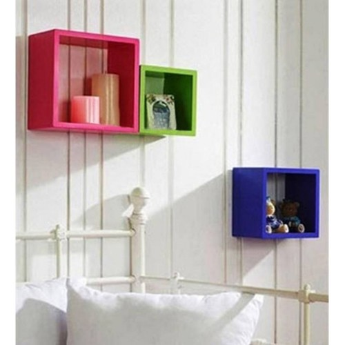 Desi Karigar Wall Mount Shelves Square Shape Set of 3 Wall Shelves: Pink, Green & Sky Blue