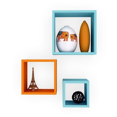 Desi Karigar Wall Mount Shelves Square Shape Set of 3 Wall Shelves: Sky Blue & Orange