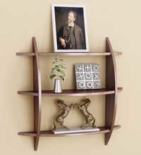 Desi Karigar Three Tier Half Moon Shelf Unit in Brown