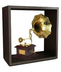 Desi Karigar Gold and Brown Wood & Brass Wall Shelf with Gramophone