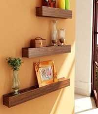 Desi Karigar Brown Engineered Wood Wall Shelves - Set of 3