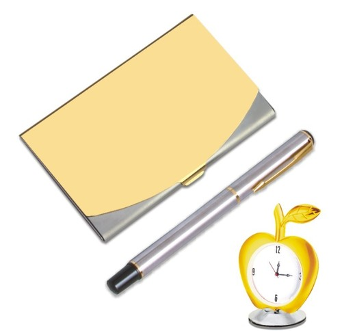 Card Holder Withball Pen And Desk Watch