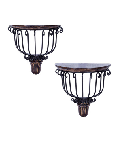 Desi Karigar Brown Beautiful Wooden Wall Bracket - Set of 2