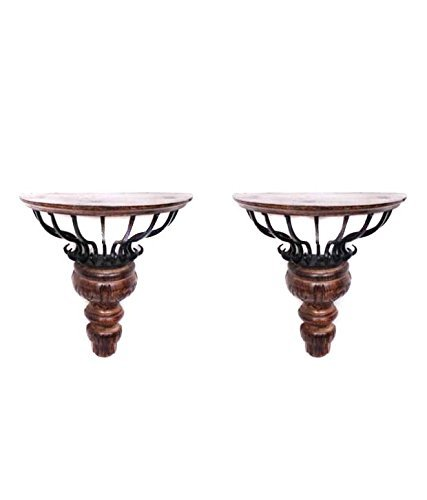 Desi Karigar Beautiful Wrought Iron Wall Hanging Shelve a unique Wall Decor Pack of 2
