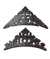 Desi Karigar Beautiful wooden Wall Hanging Key holder with key hooks . A perfect key holder Set Of 2