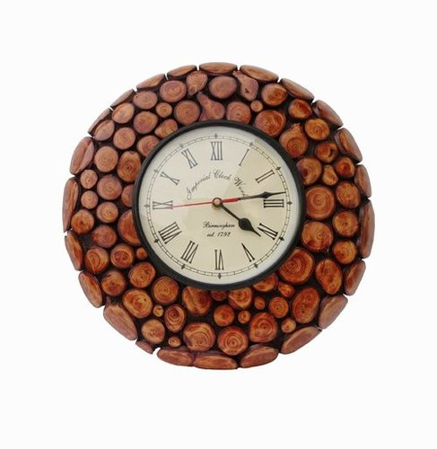 Desi KarigarRound Shape Design Wall Hanging Wooden Clock