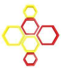 Desi Karigar Wall Mount Shelves Hexagon Shape Set of 6 Wall Shelves - Red & Yellow