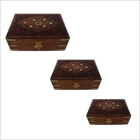 Set Of Three jewellery boxes with Carving & brass work
