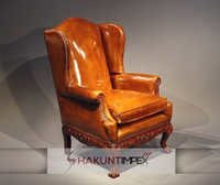 Antique Hand Carved Leather Chair
