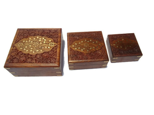 Desi Karigar Set Of Three Square shaped jewellery boxes with beautifull brass and carved work