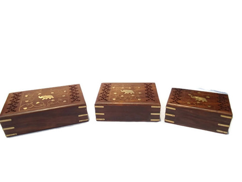 Desi Karigar Set Of Three carved and jali work jewellery boxes