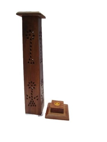 Desi Karigar wooden sheesham Square Tower shaped incense stick holder cum dhoop holder