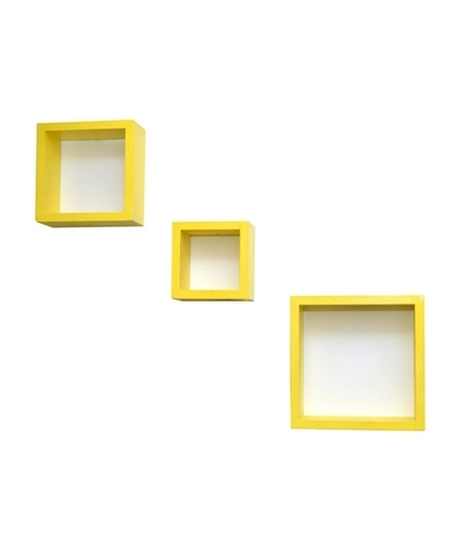 Desi Karigar Wall Mount Shelves Square Shape Set of 3 Yellow Wall Shelves