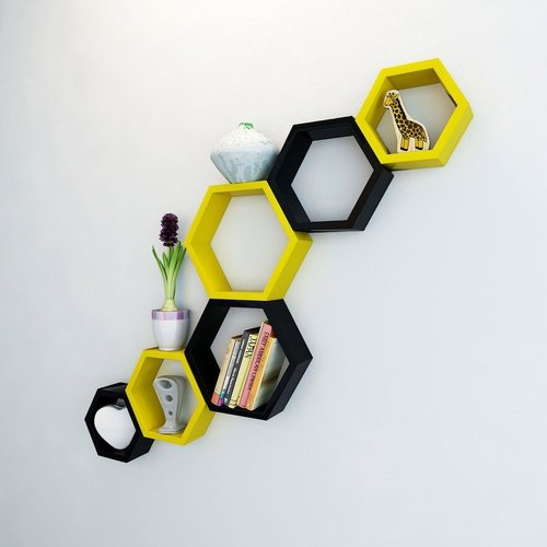 Desi Karigar Wall Mount Shelves Hexagon Shape Set of 6 Wall Shelves - Yellow & Black