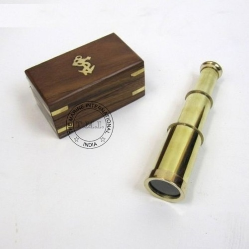 Full brass Spyglass Telescope With Wooden Box