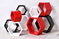 Desi Karigar Wall Mount Shelves Hexagon Shape Set of 9 Wall Shelves - Red, White & Black