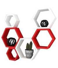 Desi Karigar Wall Mount Shelves Hexagon Shape Set of 6 Wall Shelves - Red & White