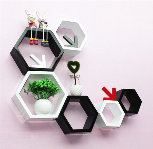 Desi Karigar Wall Mount Shelves Hexagon Shape Set of 6 Wall Shelves - White & Black