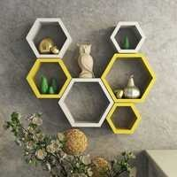 Desi Karigar Wall Mount Shelves Hexagon Shape Set of 6 Wall Shelves - White & Yellow