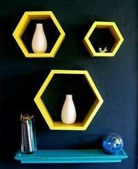 Desi Karigar Wall Mount Shelves Hexagon Shape Set of 3 Yellow Wall Shelves