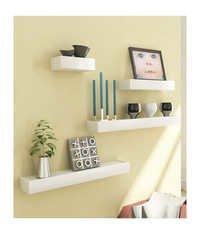 Desi Karigar White Engineered Wood Wall Shelves - Set of 4