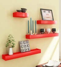Desi Karigar Red Engineered Wood Wall Shelves - Set of 4