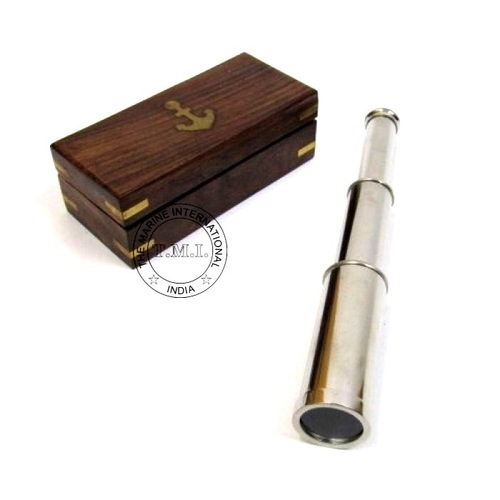 Nickle Plated Brass Telescope With Wooden Box