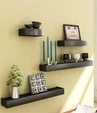 Desi Karigar Black Engineered Wood Wall Shelves - Set of 4