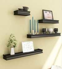 Desi Karigar Black Mango Wood & MDF Wall Shelves - Set of 4