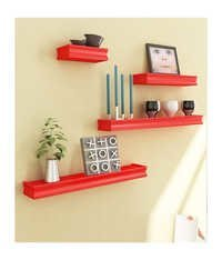 Desi Karigar Red Mango Wood & MDF Wall Shelves - Set of 4