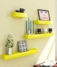 Desi Karigar Yellow Engineered Wood Wall Shelves - Set of 4