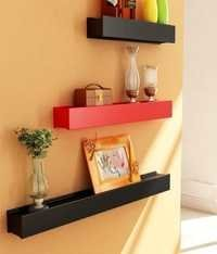 Desi Karigar Red & Black Engineered Wood Wall Shelves - Set of 3