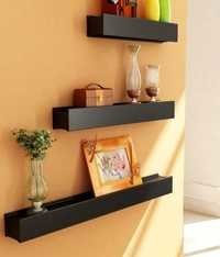 Desi Karigar Black Engineered Wood Wall Shelves - Set of 3