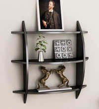 Desi Karigar Three Tier Half Moon Shelf Unit in Black