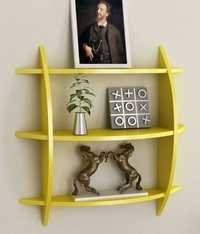 Desi Karigar Three Tier Half Moon Shelf Unit in Yellow