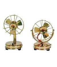 Desi Karigar Brass Toy Fan Showpiece Portable Rechargable - Set of Two