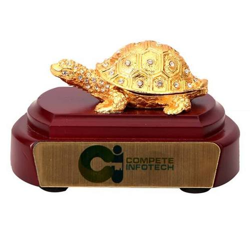 Tortoise Gold Plated Wooden Base