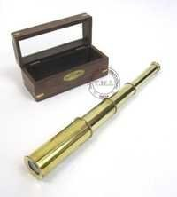 Brass Retractable Handheld Telescope With Wood & Glass Box