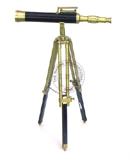 Leather Sheathed Brass Telescope With Spirit Level On  Wooden Tripod Stand