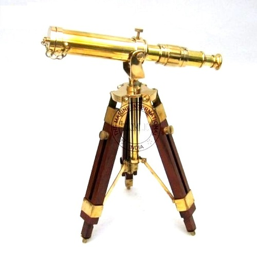 Shiny Finish Brass Telescope With Wooden Stand