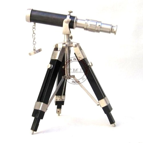 Pewter Finish Brass Telescope With Wooden Stand