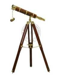 Brass/Wood Telescope With Tripod Stand